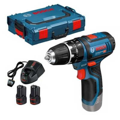 BOSCH GSB12V-15 12v Combi Drill with 2x2ah Batteries and L-Boxx