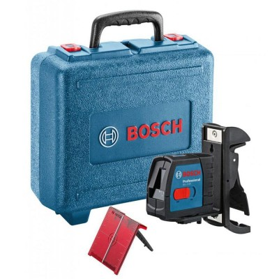 BOSCH GLL215 15m Cross Line Laser with BM3 Wall Mount and Case