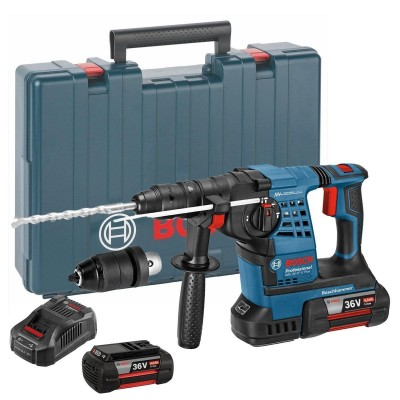 BOSCH GBH36VFLiplus 36v SDS+ Hammer Drill with Quick Change Chuck and 3x4ah Batteries