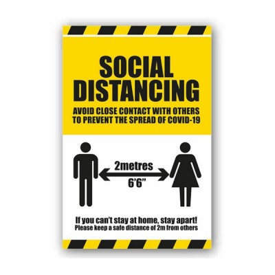 Covid-19 Social Distancing Instruction Label (Self Adhesive Vinyl) 300x200mm