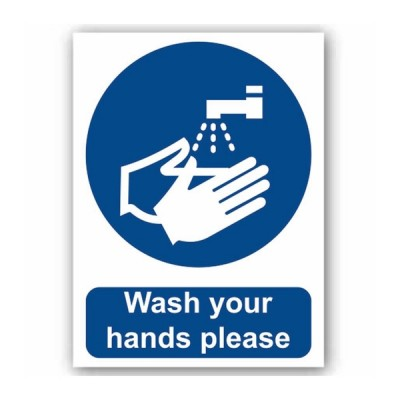 Wash Your Hands Please (Self Adhesive Vinyl) 200 x 150mm