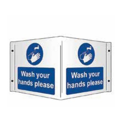 Wash Your Hands Please (3D Projecting) 1mm Rigid PVC 430 x 200mm