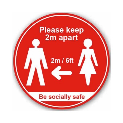 Please Keep 2mtr Apart / Be Socially Safe (Floor Graphic) 200mm diameter