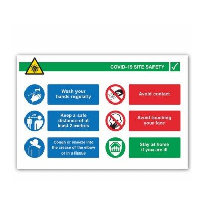 Covid 19 Site Safety Inst (6 message) Landscape 4mm Correx 900 x 600mm